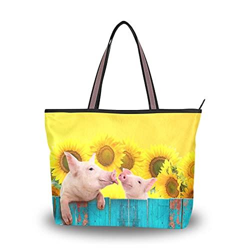NaiiaN Leichte Tragetasche mit Riemen für Mutter Frauen Mädchen Damen Student Lustiges Schwein, das auf Zaun Umhängetaschen Handtaschen Geldbörse Shopping ändert