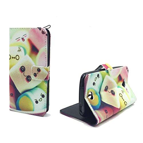 König Design Handyhülle Kompatibel mit Acer Liquid Z530 Handytasche Schutzhülle Tasche Flip Hülle mit Kreditkartenfächern - Marshmallows
