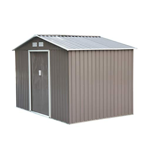 Outsunny 9 x 6FT Outdoor Garden Roofed Metal Storage Shed Tool Box with Foundation Ventilation & Doors Grey