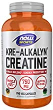 NOW Sports Nutrition, Kre-Alkalyn Creatine 750 mg, Mass Building*/Energy Production*, 240 Capsules