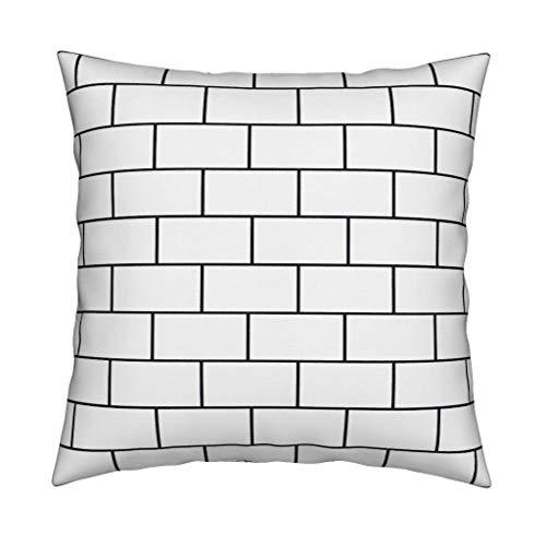 Ol322ay baksteen muur gooien kussensloop metro tegel nette zwart en wit minimalistische vierkante gooi kussensloop
