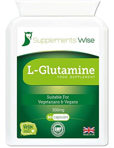 L-Glutamine Capsules - 90 x 500mg - High Strength Amino Acid - Muscle Strength and Recovery Nutritional Supplement - Relief from Sugar or Alcohol Cravings - Encourages a Healthy Digestive System