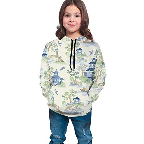 Sudadera con Capucha con Estampado Infantil Pullover Sweater Pocket Boy Girl Top Negro Chinoiserie S