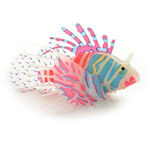Muamaly Aquarium Künstlichen Fisch Silikon Lebensechte Rotfeuerfische Schwimmend Dekoration Ornament (Rot)