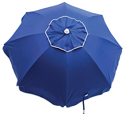 RIO Beach 6-foot UPF 50+ Beach Umbrella with Built-In Sand Anchor, Beach Club Stripes