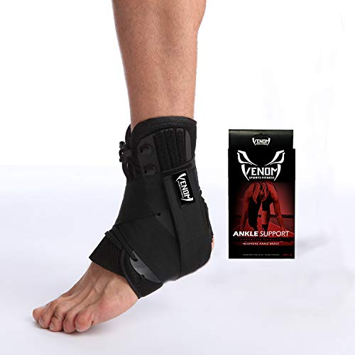 Venom Ankle Brace Neoprene Lace Up Compression Sleeve - Elastic Support & Adjustable Stabilizers, Sprained Foot, Tendonitis, Basketball, Volleyball, Soccer, MMA, Running, Sports, Men, Women (Large)