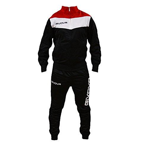 Perseo Sport Tuta Uomo Givova Campo Fitness Palestra Allenamento Training Calcio (L, Nero/Bianco/Rosso)