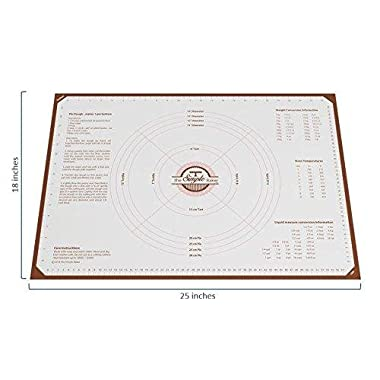 Simple Baker Extra Thick, Extra Large Silicone Pastry Mat with Measurements, 25 x18  Non-Slip 0.7mm Thick Sheet (Small Grid - Extra Non-Slip)