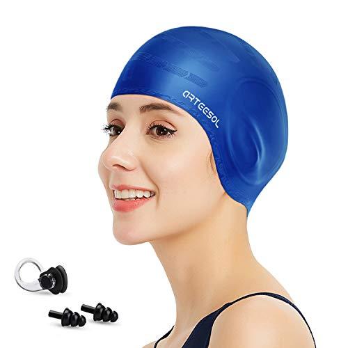 arteesol Badekappe - Silikon Badekappen Badehüte Anti-Rutsch wasserdichte Badekappe für Lange Haare Frauen und Männer