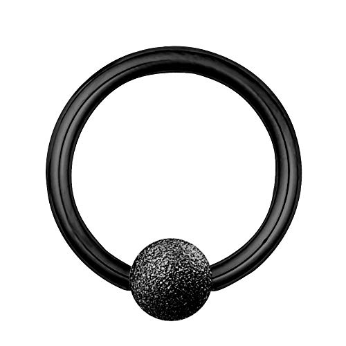 Treuheld Piercing Klemmring - Stahl - Diamant - Schwarz - [05.] - 1.2 x 10 mm (Kugel: 4mm)