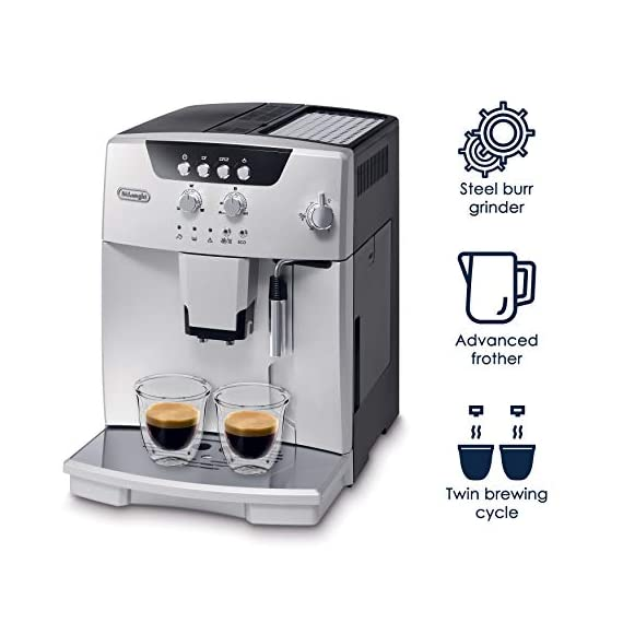 De'longhi esam04110s magnifica fully automatic espresso machine with manual cappuccino system silver 6 thermo block technology provides excellent heat distribution integrated burr grinder with adjustable settings consistent brewing every time