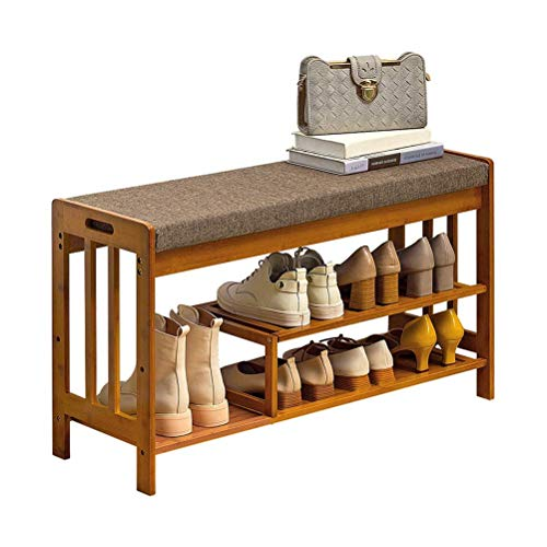 HEMFV Simplifique el banco de almacenamiento, Estante del zapato retro de lino del amortiguador lavable con apoyabrazos diseño de rodamiento fuerte Tornillo Refuerzo dormitorio Corredor Hotel Bath Cen