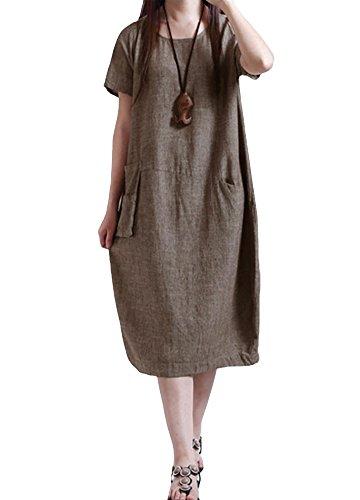 Romacci Damen Beiläufiges Loses Kleid Normallack Taschen Weinlese Midi Langes Kleid S-XL Blau/Burgund/Kaffee (Kaffee-Kurzarm, 5XL)