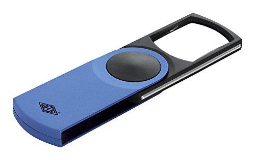 Wedo 2717603 Leuchtlupe Swing-It Kunststoff, 3-fach Vergrößerung, Ausschwenkbare Linse, Automatisches LED Licht 11, 2 x 5, 0 x 1, 3 cm, inkl. Batterien, blau-metallic