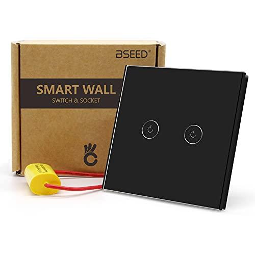 BSEED 2.4G Single Live WiFi-Berührungssensorschalter (KEIN Neutralleiter Erforderlich) Smart Life/Tuya/Google Alexa-kompatible Wandleuchtenschalter für Glasscheiben 2 Fach 1 Wag Schwarz