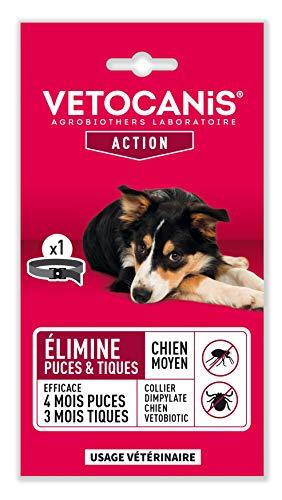 VETOCANIS Collier antiparasitaire, anti-puces et anti-tiques au Dimpylate pour chien - Efficacité longue durée 120 jours