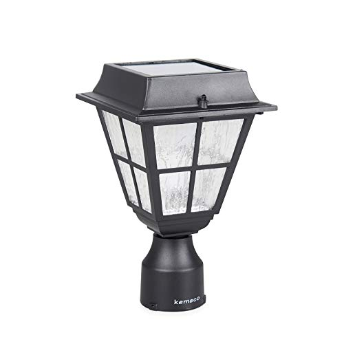 Kemeco ST4327Q-A LED Post Solar Cap Light Outdoor Bright Warm White Cast Aluminum Fixture for 3 Inch Fitter Mount Base Pillar Pole Pathway Driveway Garden Landscape Yard