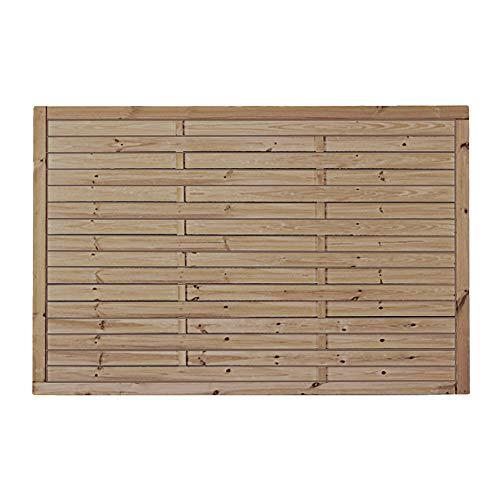 MEIN GARTEN VERSAND Preiswerter Lamellenzaun/Vorgartenzaun in den Maßen 180 x 120 (Breite x Höhe) aus druckimprägniertem Kiefer/Fichte Holz Hamburg II