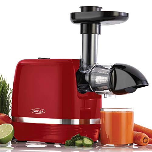 Omega Juicer H3000RED Cold Press 365 Slow Masticating Juice Extractor Easy to Clean Quiet Motor, 150-Watt, Red