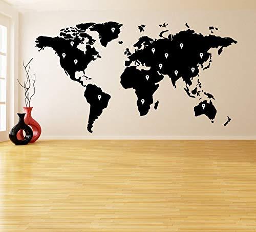 JJHR Wandtattoos Wandaufkleber Wandtattoo Aufkleber Weltkarte Mit Google Dots Erde Atlas Removable Poster Home Tür DIY Decor 73 * 40 cm