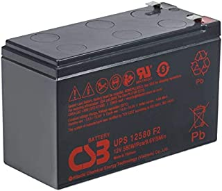 CSB UPS12580-12 Volt/9 Amp Hour (96.7 Watts) Sealed Lead Acid Battery replaces HR1234WF2 with 0.250 in. Fast-on Terminals