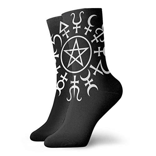 JONINOT Alchemy Pentagram Calcetines deportivos casuales de algodn esenciales para hombre Calcetines W8.5CM X L30CM