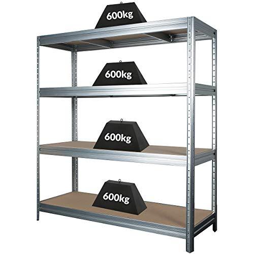Stabiles Schwerlastregal   Tragkraft bis zu 600 Kg pro Fachboden   1770 x 1600 x 600 mm   Kellerregal Stahlregal Garagenregal Lagerregal   Silber