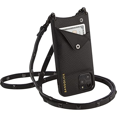 Bandolier Sarah Crossbody Phone Case and Wallet - Black Leather with Pewter Detail - for iPhone 8 Plus, 7 Plus, 6 Plus, 6s Plus