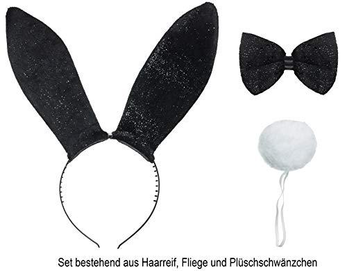 Brandsseller Bunny Hasen Kostüm-3er Set - Glitzerhaarreif - Glitzerfliege - Weißer Hasenpuschelschwanz Schwarz-Weiß