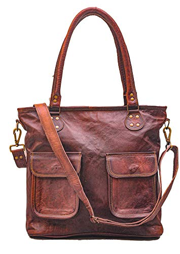 PASCADO Vintage leather tote bag purse shoulder satchel bag handmade handbag for women genuine brown