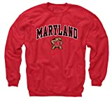 Campus Colors NCAA Adult Arch & Logo Gameday Crewneck Sweatshirt (Maryland Terrapins - Red, XX-Large)