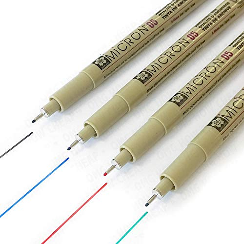Sakura Pigma Micron Fineliners - Penne da disegno con inchiostro pigmentato, tratto da 0,5 mm, colore nero, blu, rosso e verde, confezione da 4