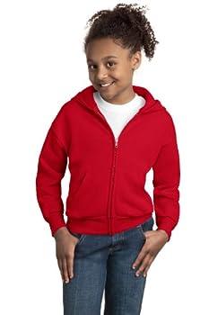 Hanes Girls Comfortblend EcoSmart Full-Zip Hooded Sweatshirt Medium DP Red