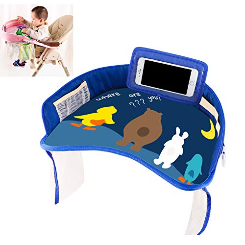 AZWER Coche bebé Dibujos Animados Asiento de Seguridad Asiento portátil Impermeable Silla Toy Toy Food Drink Titular de Teléfono Celular Diferente Reporte de Regazo para niños y niñas,Dark Blue