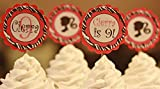 12 - Hot Pink & Black Zebra Barbie Girl Silhouette Happy Birthday Cupcake Toppers - Party Packages, Favor Tags, Banners, Door Signs Available