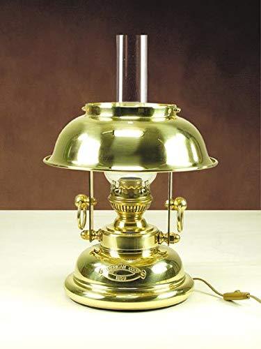 Maritime Tischleuchte Messing Glas Jugendstil Vintage Petroleumlampe elektrisch Nachttischlampe Büro
