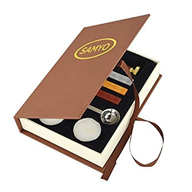 Samyo Stamp Seal Sealing Wax Vintage Classic Old-Fashioned Antique Alphabet Initial Letter Set Brass Color Creative Romantic Stamp Maker (D)