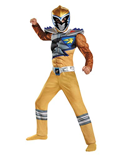 Horror-Shop Power Ranger - Gold Ranger Dino Charge Muskel Kostüm für Kinder S