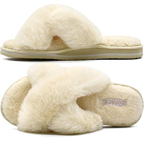 COFACE Zapatillas de Casa para Mujer Pantuflas de Felpa de Invierno Zapatos Cruzados de Peludas Suave Punta Sbierta Diapositivas Antideslizantes Cómodo Interiores y Exteriores Blanco Talla 40