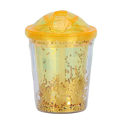 Iced Juice Cup Met Straw, 300Ml Snelle Afkoeling Smoothies Ice Cream Fles, Double-Layer Isolatie Cup, Klussen Milkshake Fruit Smoothie Knijpfles Met Invriezen Gel,Yellow