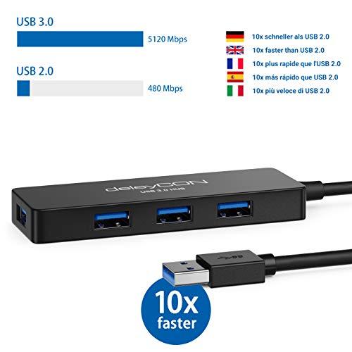 deleyCON 4 Port USB 3.0 HUB Datenhub USB Erweiterung bis 5Gbit/s PC Computer Laptop Notebook Windows & Mac 4X USB3.0 Port Verteiler Dockingstation