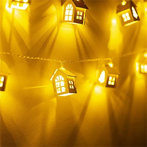 Wandskllss - Stringa di luci natalizie per casa di alci, in legno, per decorazione della stanza, alimentata a batteria, per luci per albero di Natale, per interni ed esterni, 2 M10
