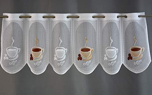Clever-Kauf-24 Scheibengardine Kaffee Tasse Bedruckt Höhe 30cm, 45cm, 60cm oder 90cm | Breite der Gardine frei wählbar in 15,5cm Schritten | Gardine | Panneaux | (Höhe 30cm)
