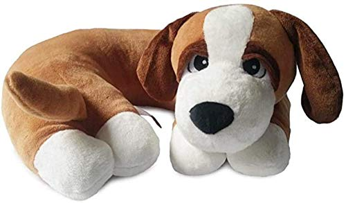 The Dog Pillow Company Plush Pet Pillow/Dog Neck Pillow for Upper Spine and Calming Support, Brown with White Paws, 12 x 12 x 6 Inches