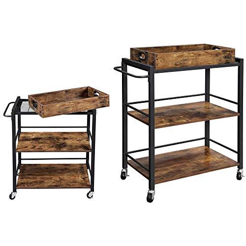 Piushopping Carro de cocina con ruedas, ahorra espacio, de madera, 2 estantes, 1 bandeja, estilo industrial, 65 x 40 x 86 cm