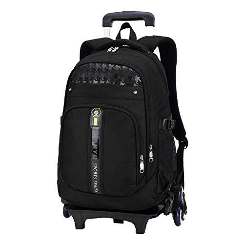 Fanspack Kids Rolling Backpack Wheel Backpack Large Capacity Luggage School Bag with Pencil Bag