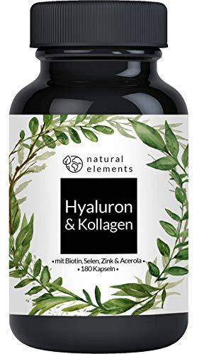 Hyaluronsäure Kollagen Komplex - 180 Kapseln - Angereichert mit Biotin, Selen, Zink, Vitamin C aus Acerola & Bambusextrakt - Laborgeprüft & hergestellt in Deutschland