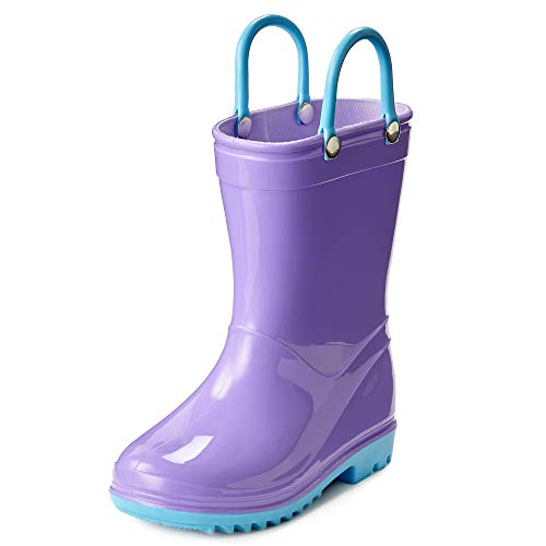 Puddle Play Toddler and Kids Waterproof Solid Rain Boots with Easy-On Handles - Size 5 Toddler