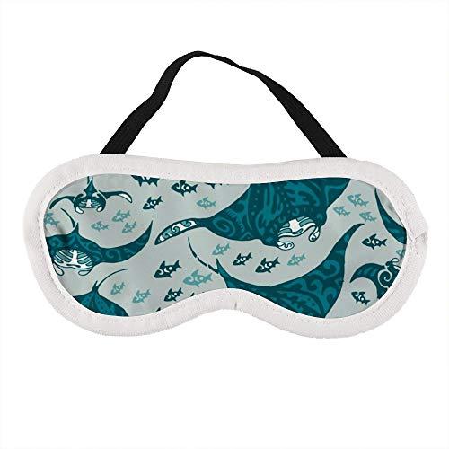 Draagbaar Oogmasker voor Mannen en Vrouwen, Manta Ray en Vis in De Zee Het Beste Slaapmasker voor Reizen, dutje, geven U De Beste Slaap Omgeving
