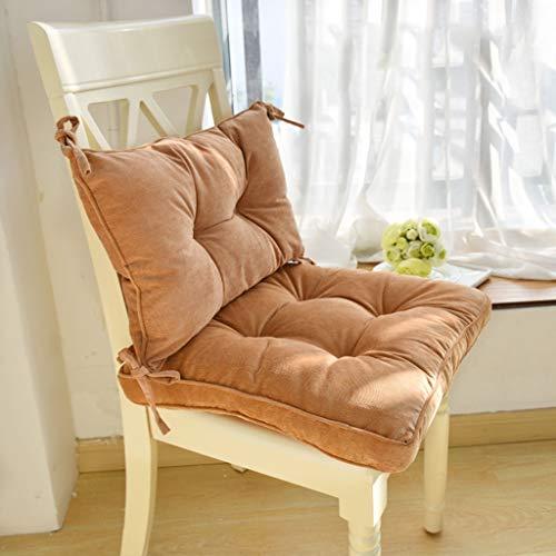 Cojín cuadrado acolchado para tumbona, 100% tela de pana gruesa de algodón con correas antideslizante acolchado refuerzo para jardín, cocina, piso grueso y sillas de comedor (color marrón